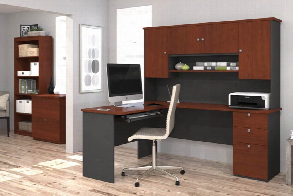 L Shaped Desk With Lateral File And Bookcase By Bestar
