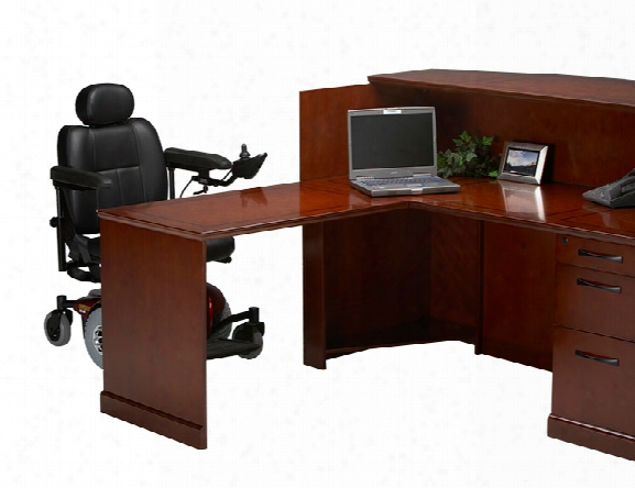 L Shaped Veneer Counter Reception Desk With Ada Return By Mayline Office Furniture