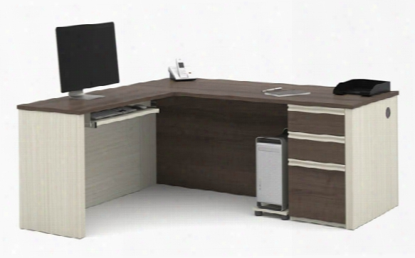 L Shaped Workstation With One Epdestal By Bestar