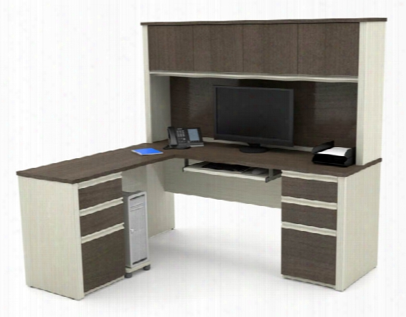 L-shaped Workstation With Two Pedestals By Bestar