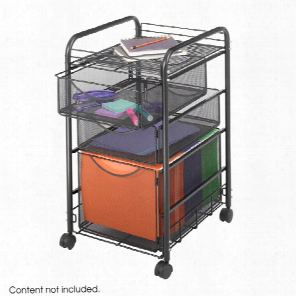 "Onyxâ""¢ Mesh File Cart With 1 File Drawer And 2 Small Drawers By Safco Office Furniture"