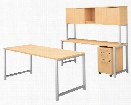 "72""W x 30""D Table Desk with Credenza, Hutch and 3 Drawer Mobile File Cabinet by Bush"