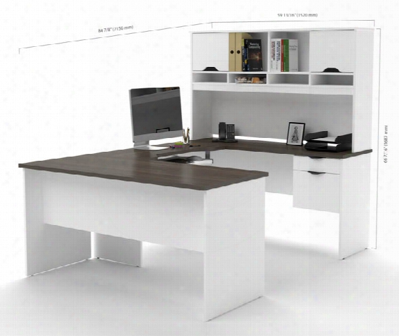 U Shaped Desk With File & Bookcase By Bestar