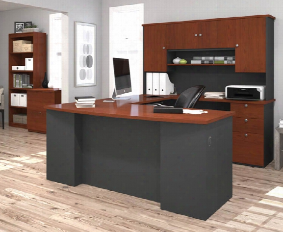 U Shaped Desk With Lateral File And Bookcase By Bestar