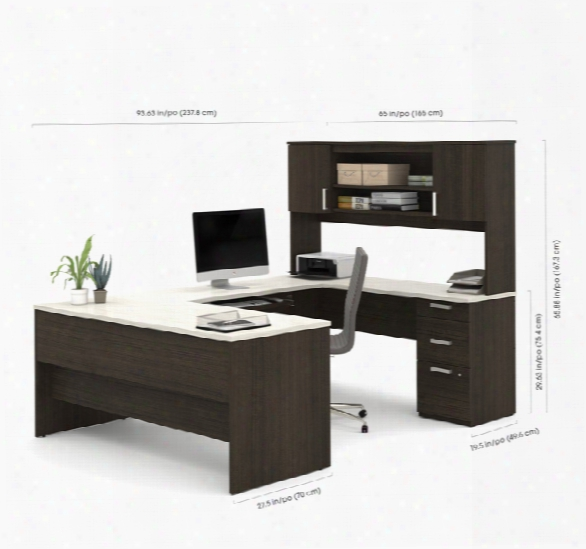 U-shaped Desk With Lareral File And Bookcase By Bestar