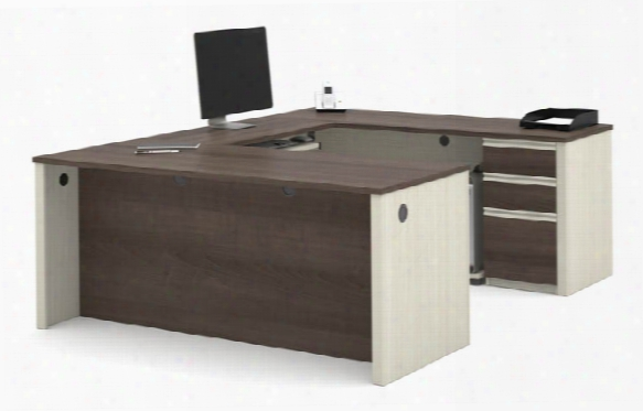 U Shaped Workstation With One Pedestal By Bestar