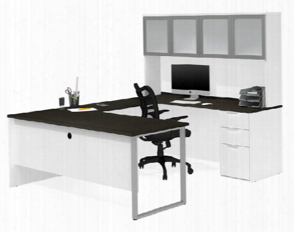 U-sshaped Desk With Frosted Glass Door Hutch By Bestar