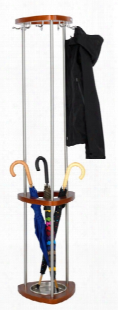 Wood Coat Rack With Umbrella Rack By Safco Office Furniture