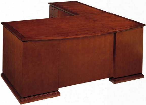 Wood Veneer Bow Front L Shaped Desk By Cherryman Furniture