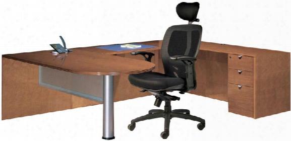 Wood Veneer Bullet U Shaped Desk By Cherryman Furniture