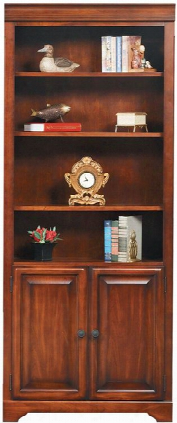 "32""w X 15""d X 79""h Solid Wood Bookcase With Doors By Wilshire Furniture"