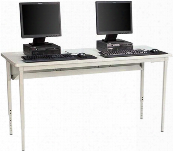 "60""w X 30""d Adjustable Height Computer Table By Bretford"