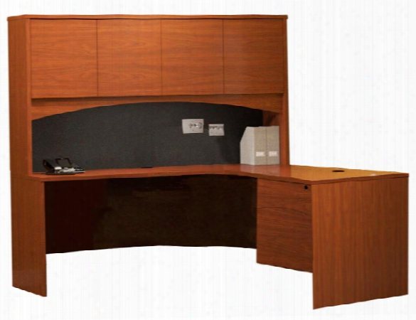 """66"""" X 66"""" L Shaped Credenza With Hutch By Mayline Office Furniture"""