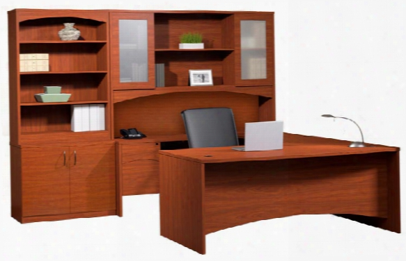 Bow Front U Shaped Desk With Additional Storage By Mayline Office Furniture