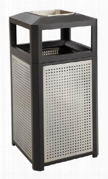 "Evosâ""¢ Series Steel Receptacle W/ Ash, 15 Gallon By Safco Office Furniture"