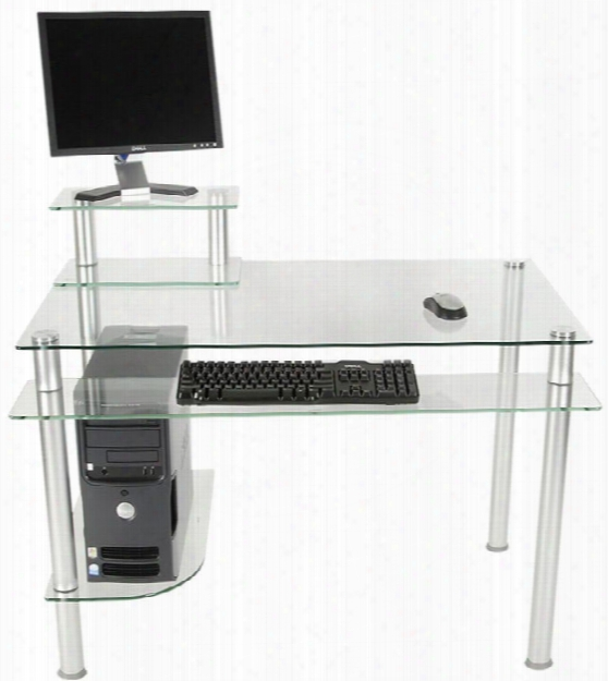 Glass And Aluminum Computer Desk By Rta Products