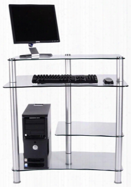 Glass And Aluminum Computer Worktable By Rta Products