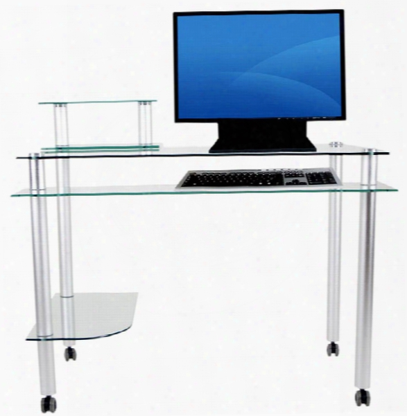 Glass And Aluminum Mobile Computer Desk By Rta Products