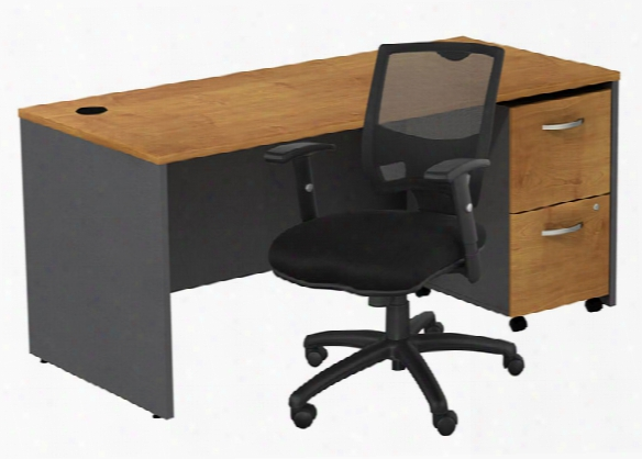 Managers Desk With 2 Drawer File And Chair By Bush