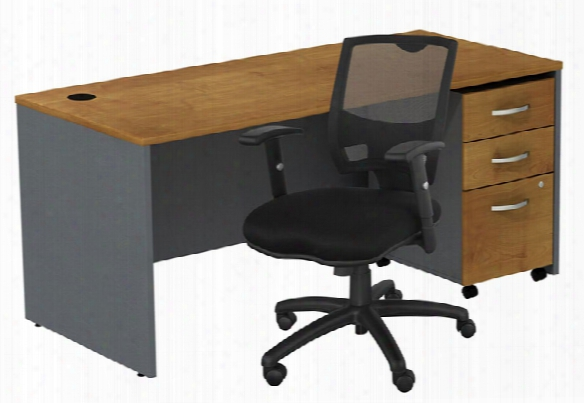 Managers Desk With 3 Drawer File And Chair By Bush