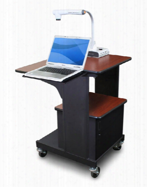 Marvel Vizion Benchmark Mobile Presentation Cart With Acrylic Doors And Laptop Shelf - (cherry Laminate) By Marvel