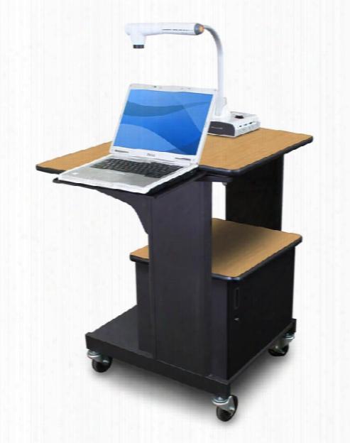 Marvel Vizion Benchmark Mobile Presentation Cart With Acrylic Doors And Laptop Shelf - (oak Laminate) By Marvel