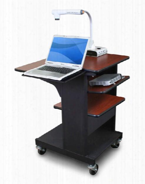Marvel Vizion Benchmark Mobile Presentation Cart With Laptop Shelf And Tilting Shelf - (cherry Laminate) By Marvel