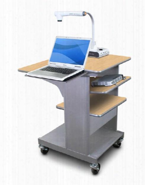 Marvel Vizion Benchmark Mobile Presentation Cart With Laptop Shelf And Tilting Shelf - (kensington Maple Laminate) By Marvel