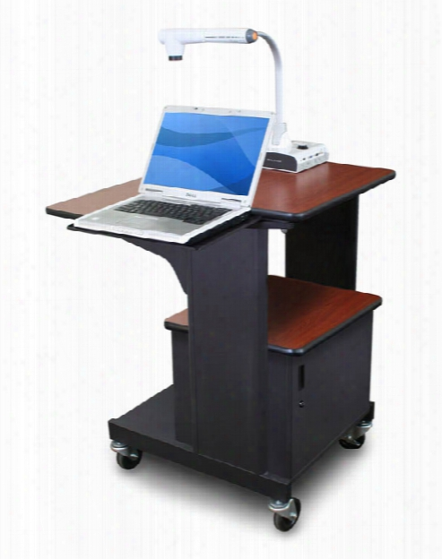 Marvel Vizion Benchmark Mobile Presentation Cart With Steel Doors And Laptop Shelf - (cherry Laminate) By Marvel