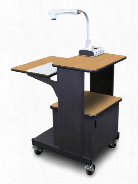 Marvel Vizion Benchmark Mobile Presentation Cart With Steel Doors - (oak Laminate) By Marvel