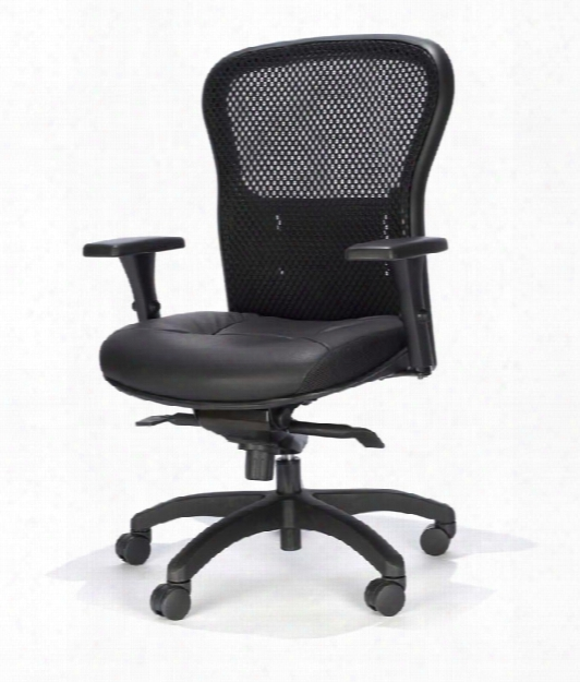 Mesh Back Chair With Leather Seat By Rfm Seating