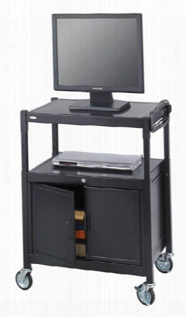 Steel Adjustable Av Cart With Cabinet By Safco Office Furniture