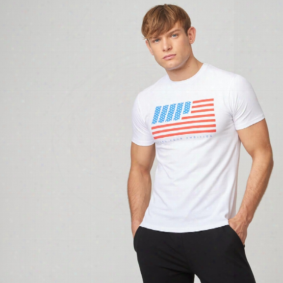 Usa Stars And Stripes T-shirt - White - Xs