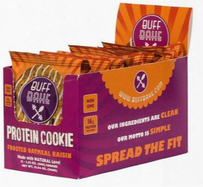 Buff Bake Buff Bake Cookies - 12 Pack Frosted Oatmeal Raisin