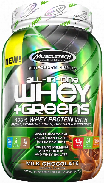 Muscletech All-in-one Whey + Greens - 2lbs Milk Chocolate