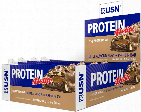 Usn Protein Delite Bars - Box Of 18 Yoghurt Toffee Almond