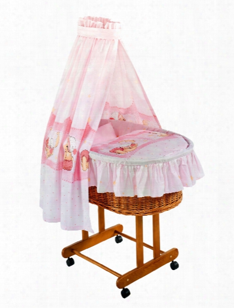 Zã¶llner Bassinet Bedding Set Teddy Bear, Pink