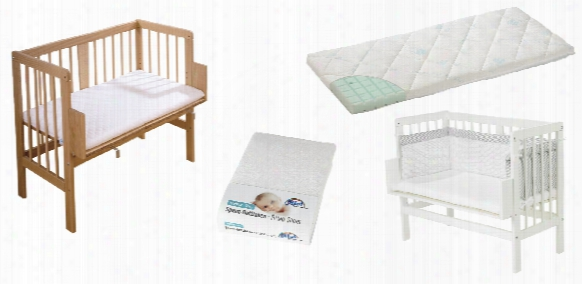Alvi Bedside Cot Set, Natural-coloured, Including Mattress, Cot Bumper And Fitted Sheet