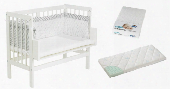 Alvi Bedside Cot Set, White, Including Mattress, Cot Bumper And Fitted Sheet