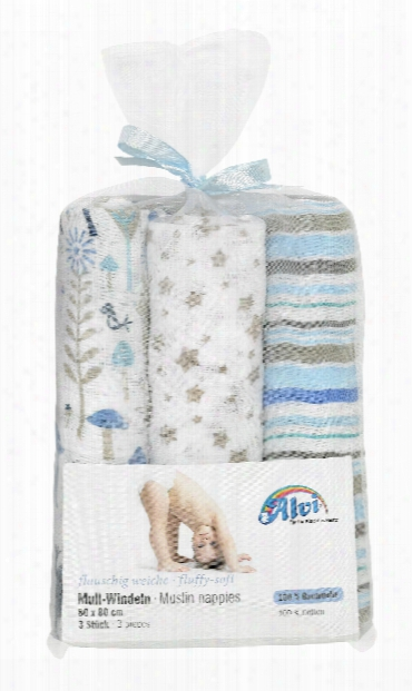 "Alvi Gauze Nappies �"" 3 Pack With Organza Bag"