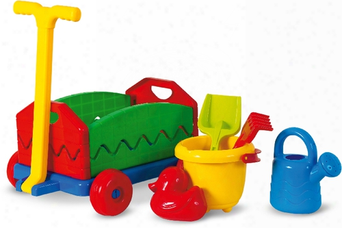 Outdoor Active Pull Along Cart With Sand Toys