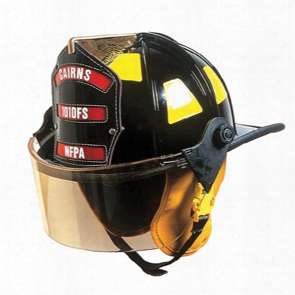 "Cairns 1010 Helmet Traditional Style W/4"" Faceshield, Standard Headliner, Black -  Black - Male - Excluded"