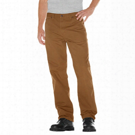 Dickies Relaxed Fit Duck Jean With Hammer Loop, Rinsed Brown Duck, 30 Waist 30 Inseam - Brass - Male - Included