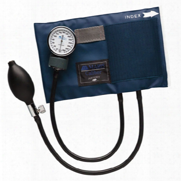 Mabis Caliber Aneroid Sphygmomanometer W/ Blue Cuff & Carrying Case, Deluxe Air Release Valve, Adult - Blue - Unisex - Included