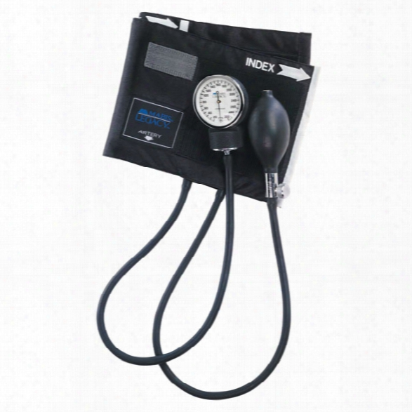 Mabis Legacy Aneroid Sphygmomanometer W/ Black Nylon Cuff & Carrying Case, Deluxe Air Release Valve, Latex-free, Adult - Black - Unisex - Included