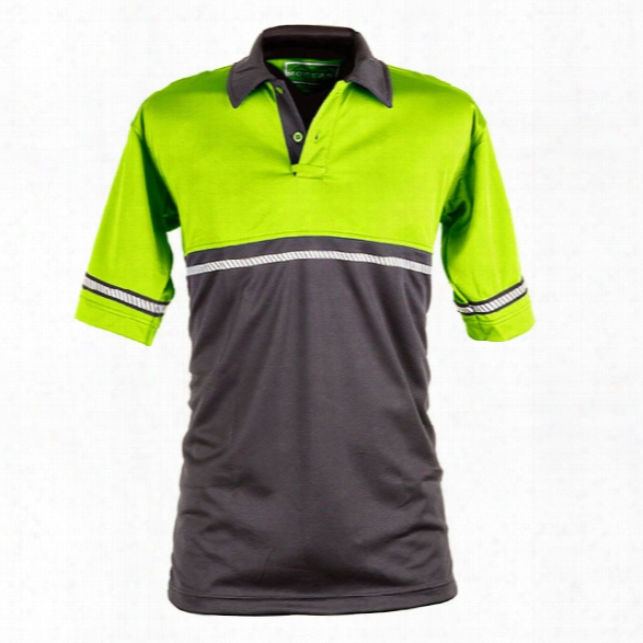 Mocean Tech X-static 2-tone Ss Polo W/reflective, Hi-vis/black, 2x-large - Silver - Male - Included