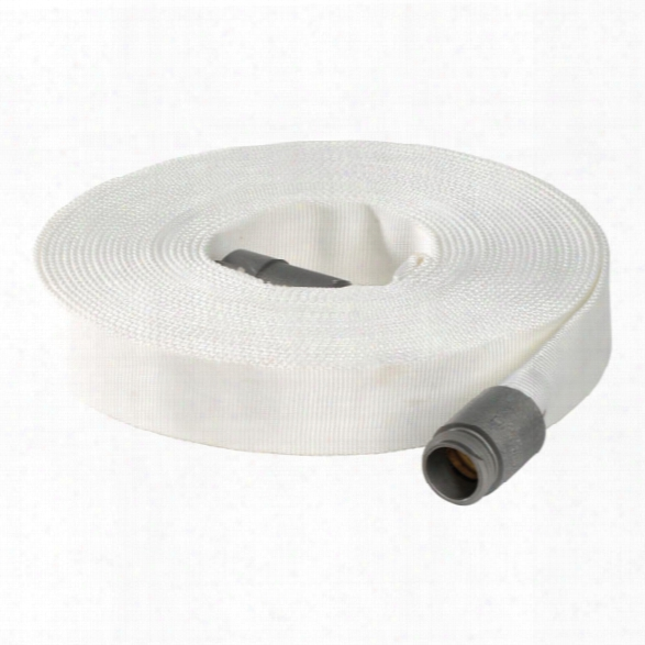 """North American Fire Hose 1"""" Forestry Hose W/ Aluminum Nst Couplings, White, 100' - White - Unisex - Excluded"""