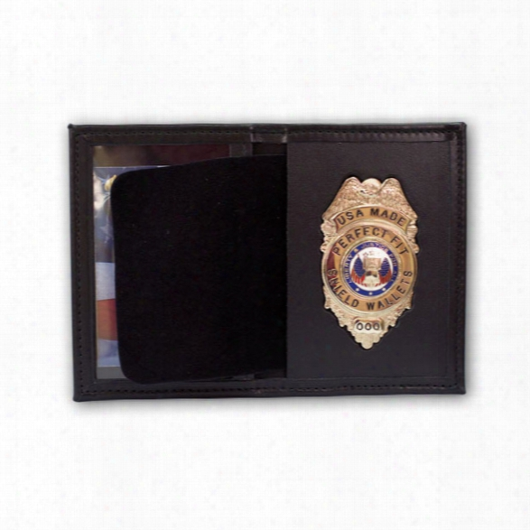 Perfect Fit Dress Leather Badge And Id Case, Oval Cut Out, Black - Black - Male - Included