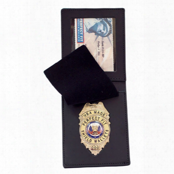 Perfect Fit Duty Leather Top Opening Badge Case, Black - Black - Male - Included