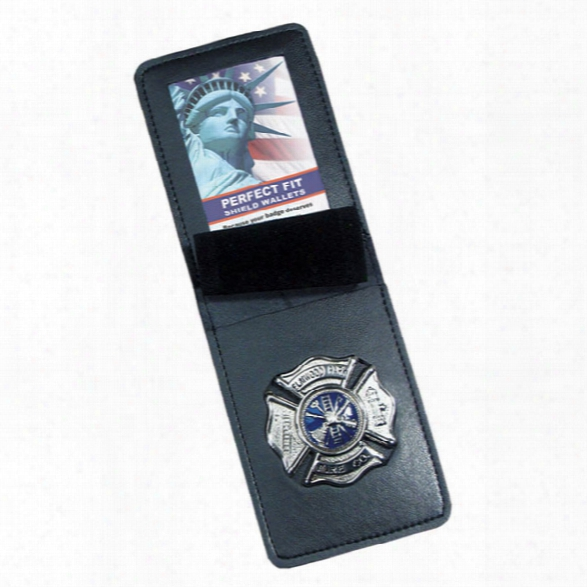 """Perfect Fit Duty Leather Top Opening Badge Case, Black, Id 2 3/4"""" X 3 5/8"""", Badge Width 2 5/8"""" - Black - Male - Included"""